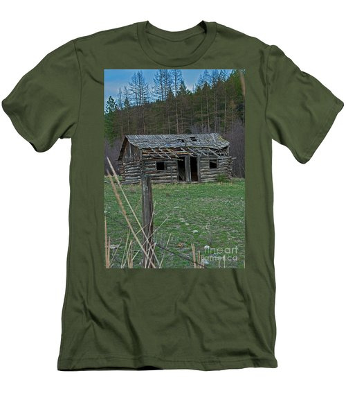 Men's T-Shirt (Slim Fit) featuring the photograph Old Abandoned Homestead Cabin Art Prints by Valerie Garner
