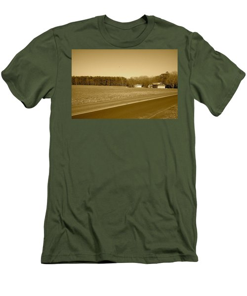Men's T-Shirt (Slim Fit) featuring the photograph Old Barn And Farm Field In Sepia by Amazing Photographs AKA Christian Wilson