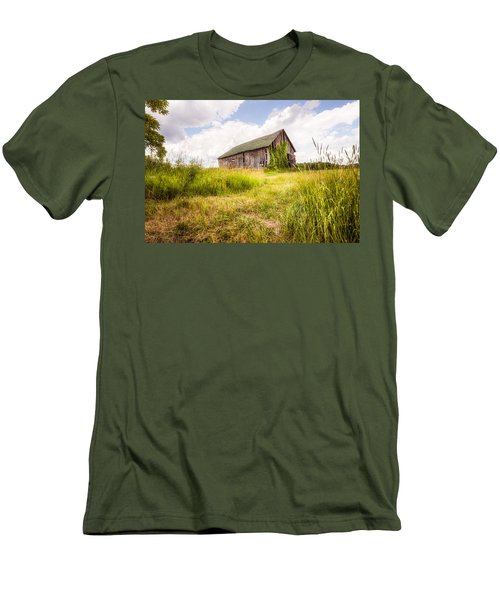 Men's T-Shirt (Slim Fit) featuring the photograph Old Barn In Ontario County - New York State by Gary Heller