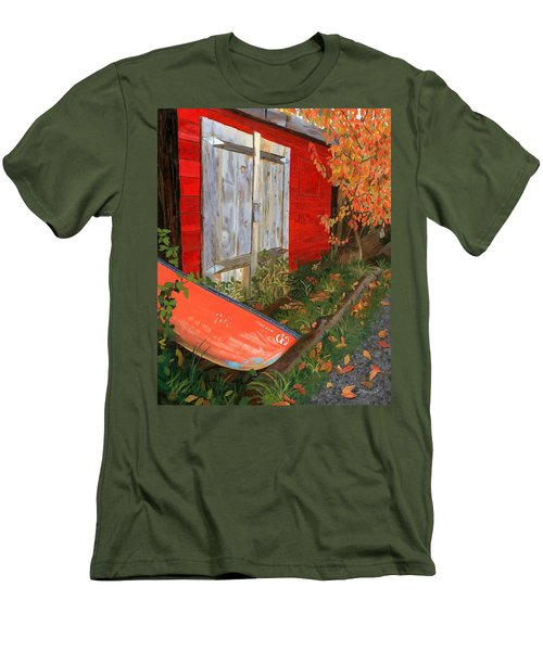 Men's T-Shirt (Slim Fit) featuring the painting Old Canoe by Lynne Reichhart