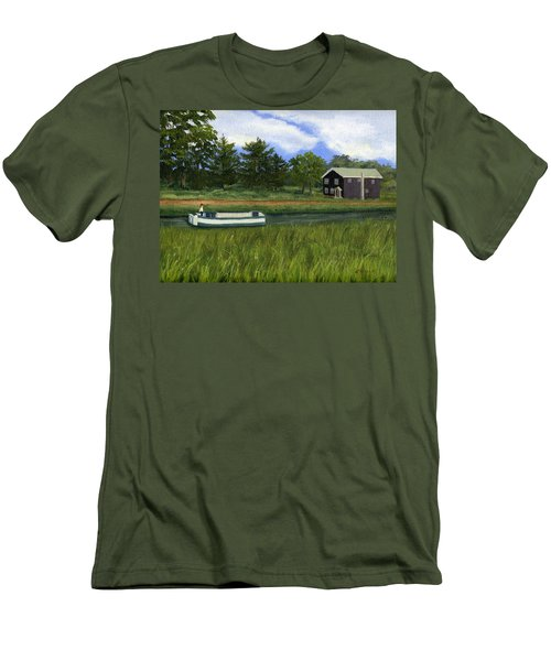 Men's T-Shirt (Slim Fit) featuring the painting Old Erie by Lynne Reichhart