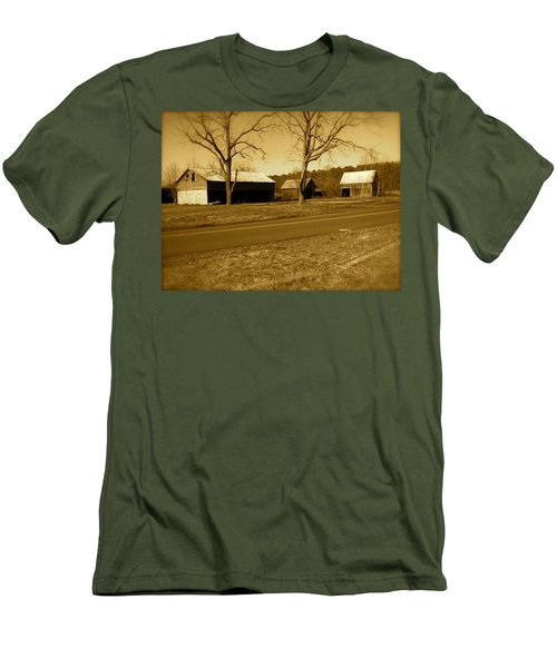 Men's T-Shirt (Slim Fit) featuring the photograph Old Red Barn In Sepia by Amazing Photographs AKA Christian Wilson