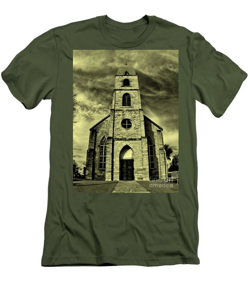 Old St. Mary's Church In Fredericksburg Texas In Sepia Men's T-Shirt (Athletic Fit)