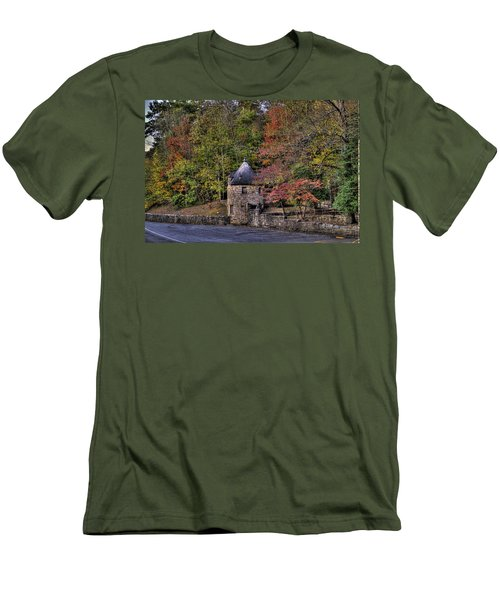 Men's T-Shirt (Slim Fit) featuring the photograph Old Stone Tower At The Edge Of The Forest by Jonny D