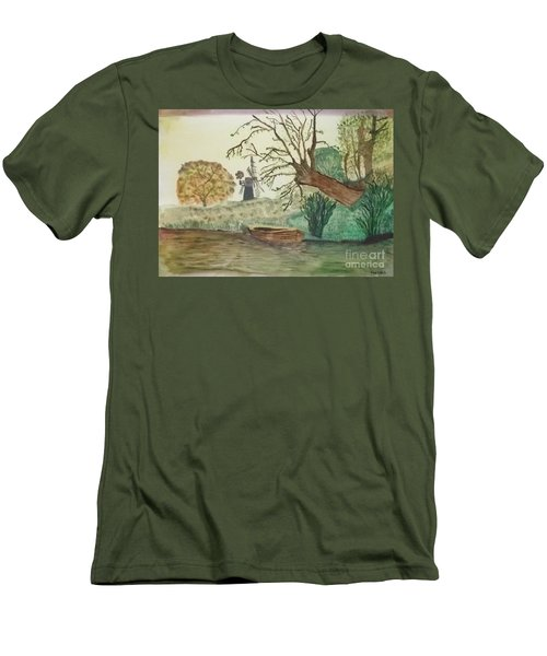 Men's T-Shirt (Slim Fit) featuring the painting Old Willow And Boat by Tracey Williams