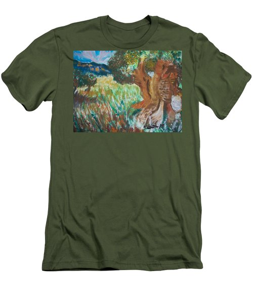 Men's T-Shirt (Slim Fit) featuring the painting Olive Trees by Teresa White