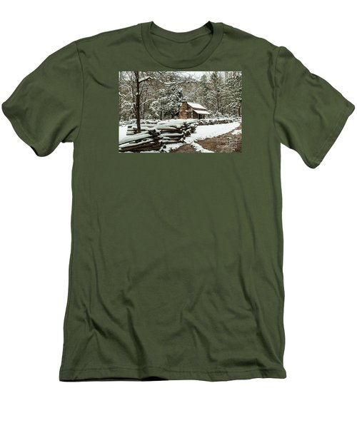 Men's T-Shirt (Slim Fit) featuring the photograph Oliver's Log Cabin Nestled In Snow by Debbie Green