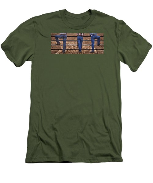 On The Fence Men's T-Shirt (Slim Fit) by Priscilla Burgers