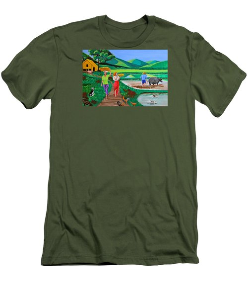 One Beautiful Morning In The Farm Men's T-Shirt (Slim Fit) by Cyril Maza