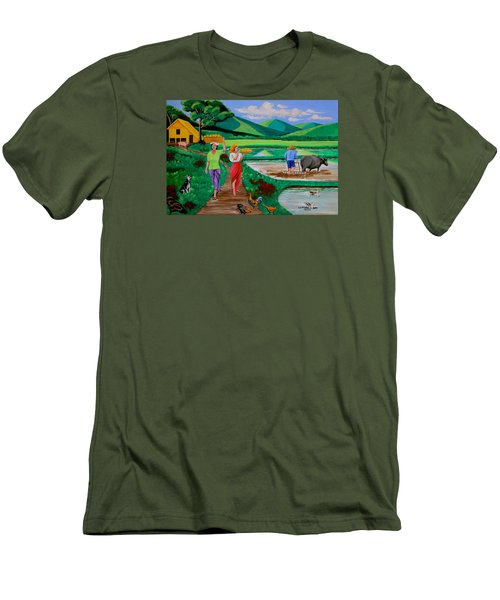 Men's T-Shirt (Slim Fit) featuring the painting One Beautiful Morning In The Farm by Lorna Maza