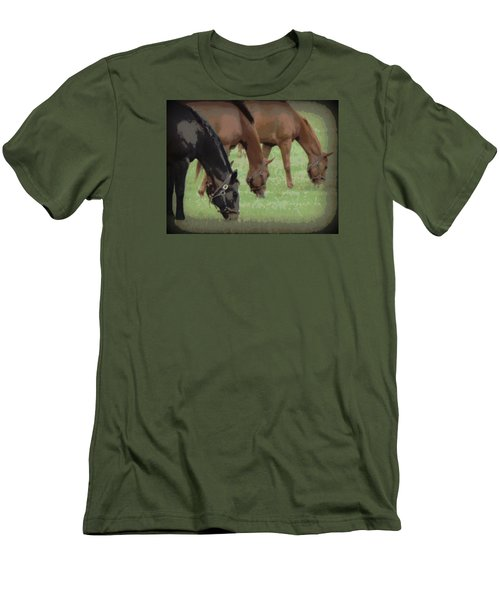 One Black Horse 1 Men's T-Shirt (Athletic Fit)