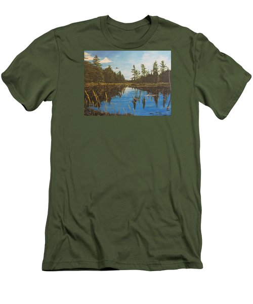 Men's T-Shirt (Slim Fit) featuring the painting O'neal Lake by Wendy Shoults