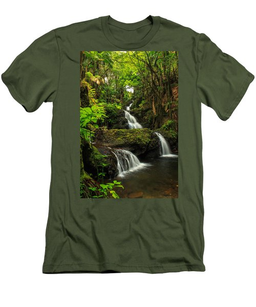 Onomea Falls Men's T-Shirt (Slim Fit) by James Eddy