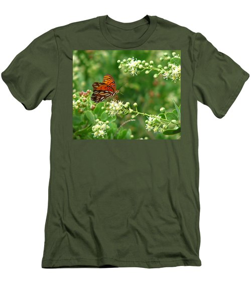 Men's T-Shirt (Slim Fit) featuring the photograph Orange Butterfly by Marcia Socolik
