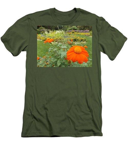 Orange Flower Men's T-Shirt (Athletic Fit)