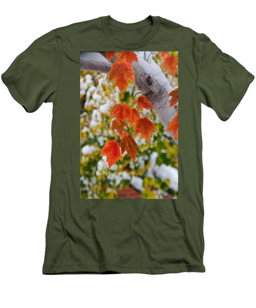 Men's T-Shirt (Slim Fit) featuring the photograph Orange White And Green by Ronda Kimbrow