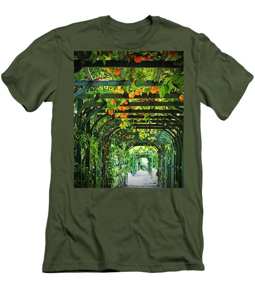 Men's T-Shirt (Slim Fit) featuring the photograph Oranges And Lemons On A Green Trellis by Brooke T Ryan