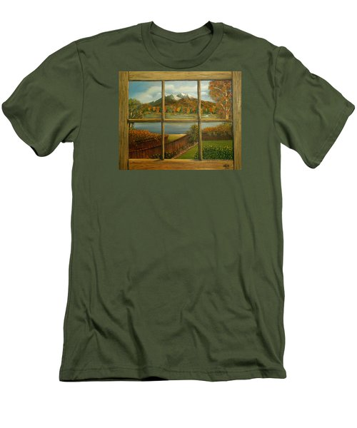 Out My Window-autumn Day Men's T-Shirt (Slim Fit) by Sheri Keith