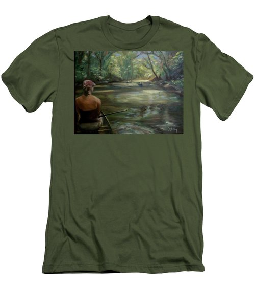 Men's T-Shirt (Slim Fit) featuring the painting Paddle Break by Donna Tuten