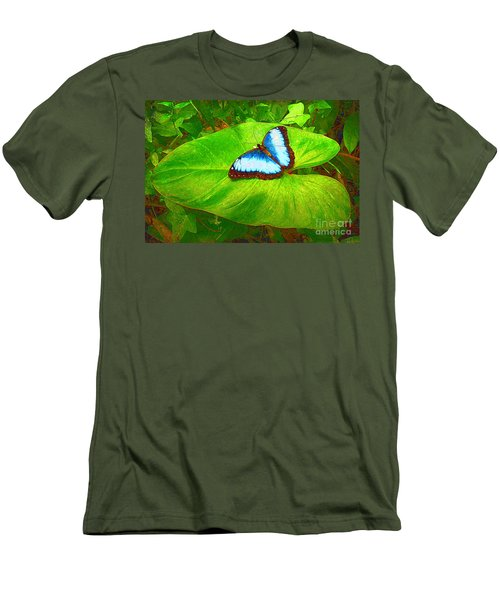 Men's T-Shirt (Slim Fit) featuring the photograph Painted Blue Morpho by Teresa Zieba