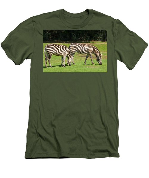 Men's T-Shirt (Slim Fit) featuring the photograph Pair Of Zebras by Charles Beeler