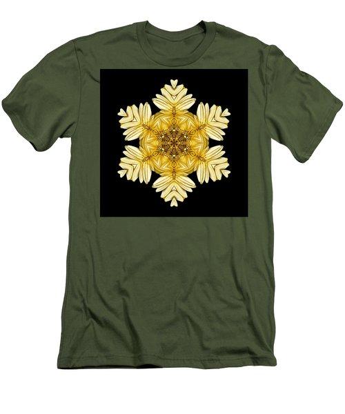 Men's T-Shirt (Slim Fit) featuring the photograph Pale Yellow Gerbera Daisy Vii Flower Mandalaflower Mandala by David J Bookbinder