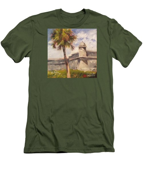Palm At St. Augustine Castillo Fort Men's T-Shirt (Slim Fit) by Mary Hubley