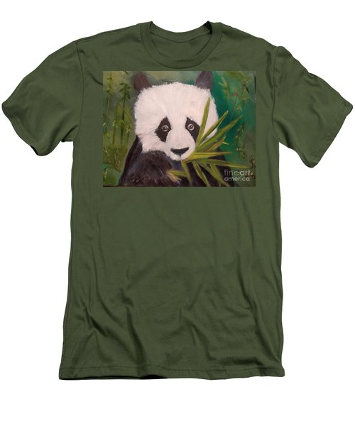 Men's T-Shirt (Slim Fit) featuring the painting Panda by Jenny Lee
