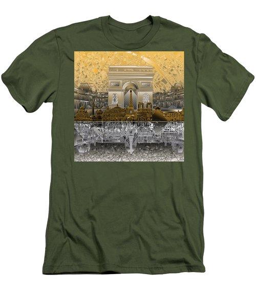 Paris Skyline Landmarks 5 Men's T-Shirt (Slim Fit)