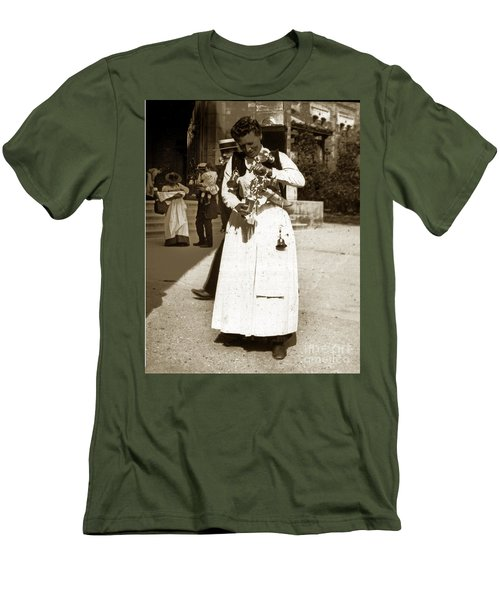 Men's T-Shirt (Slim Fit) featuring the photograph Parisian Woman Lady Paris France 1900 Historical Photo by California Views Mr Pat Hathaway Archives