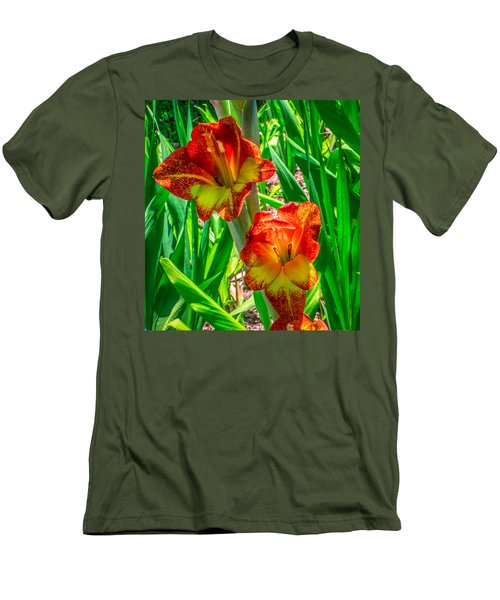Men's T-Shirt (Slim Fit) featuring the photograph Parrot Gladiolus by Rob Sellers