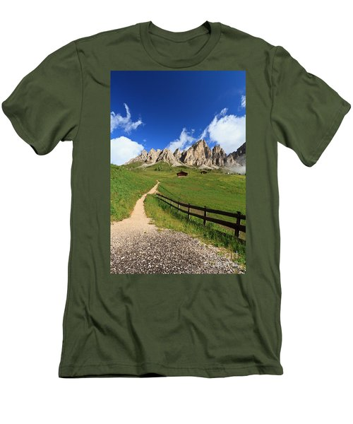 Men's T-Shirt (Slim Fit) featuring the photograph path in Gardena pass by Antonio Scarpi
