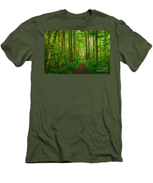 Path In Green Men's T-Shirt (Slim Fit) by Sonya Lang