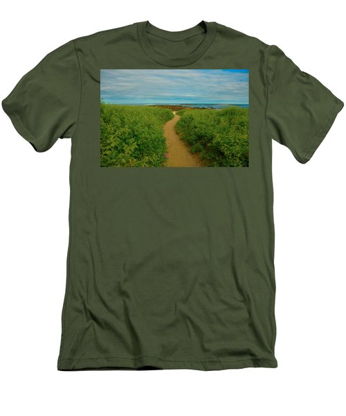 Men's T-Shirt (Slim Fit) featuring the photograph Path To Blue by Brenda Jacobs