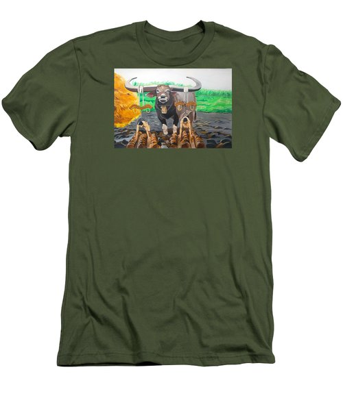 Men's T-Shirt (Slim Fit) featuring the painting Paths In The Soil  by Lazaro Hurtado