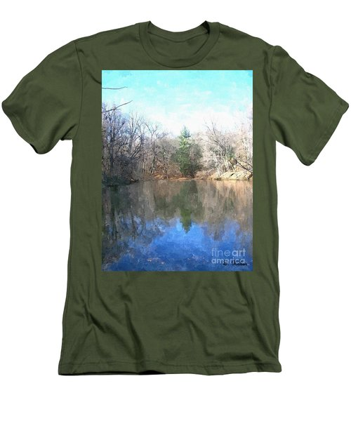 Men's T-Shirt (Slim Fit) featuring the painting Peaceful Retreat 2 by Sara  Raber