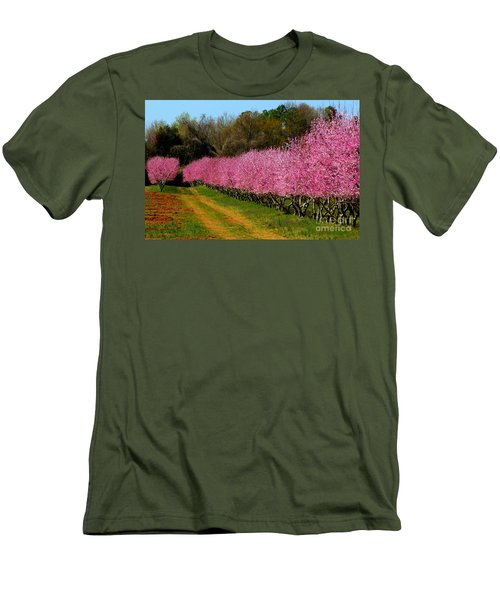 Men's T-Shirt (Slim Fit) featuring the photograph Peach Orchard In Carolina by Lydia Holly