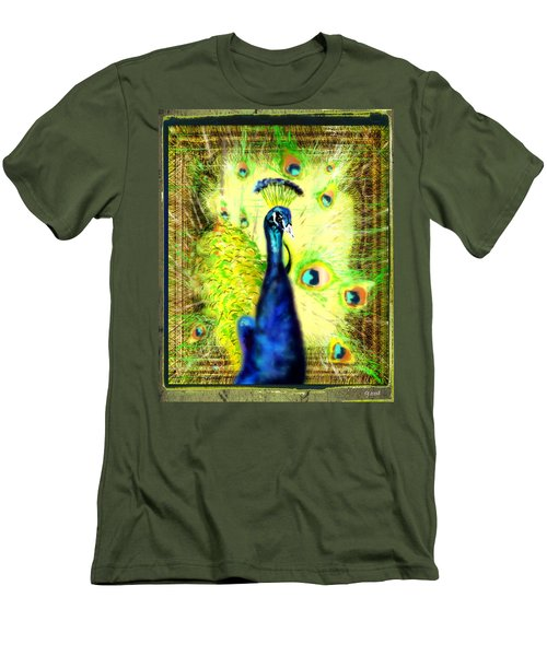 Men's T-Shirt (Slim Fit) featuring the drawing Peacock by Daniel Janda