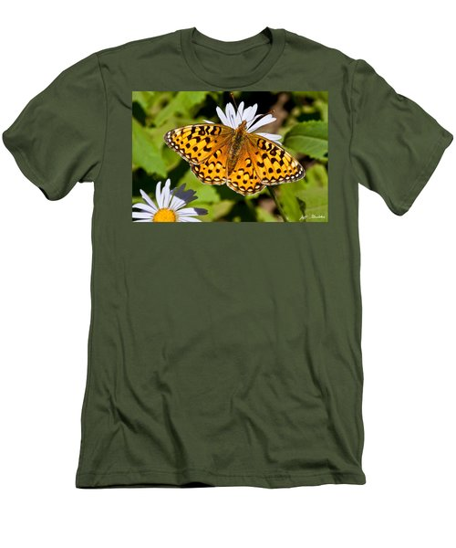 Pearl Border Fritillary Butterfly On An Aster Bloom Men's T-Shirt (Slim Fit) by Jeff Goulden