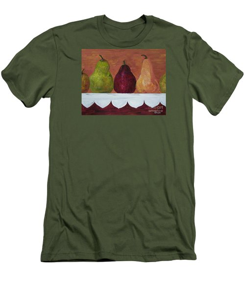 Men's T-Shirt (Slim Fit) featuring the painting Pears On Parade   by Eloise Schneider