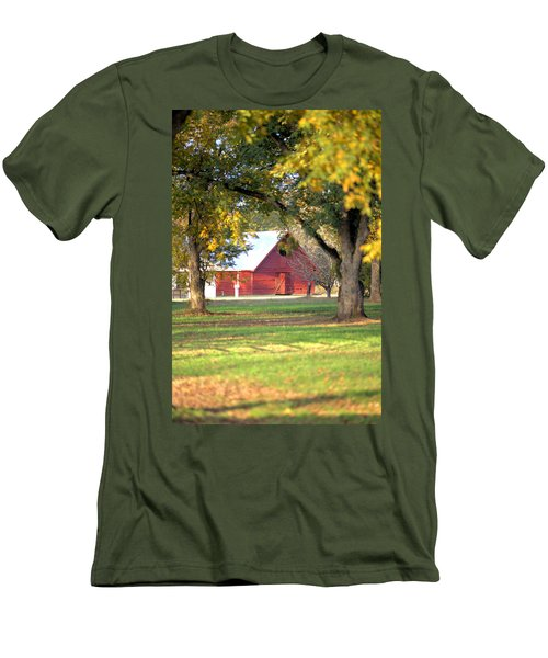 Men's T-Shirt (Slim Fit) featuring the photograph Pecan Orchard Barn by Gordon Elwell