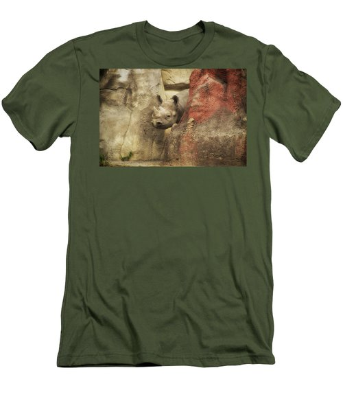 Peek A Boo Rhino Men's T-Shirt (Slim Fit) by Thomas Woolworth