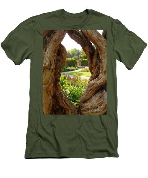 Men's T-Shirt (Slim Fit) featuring the photograph Peek At The Garden by Vicki Spindler