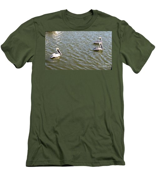 Men's T-Shirt (Slim Fit) featuring the photograph Pelicans In Florida by Oksana Semenchenko