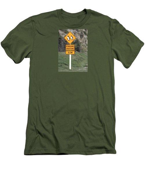 Men's T-Shirt (Slim Fit) featuring the photograph Penguins Crossing Oamaru by Nareeta Martin