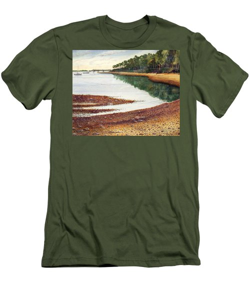 Men's T-Shirt (Slim Fit) featuring the painting Penobscot Bay by Roger Rockefeller