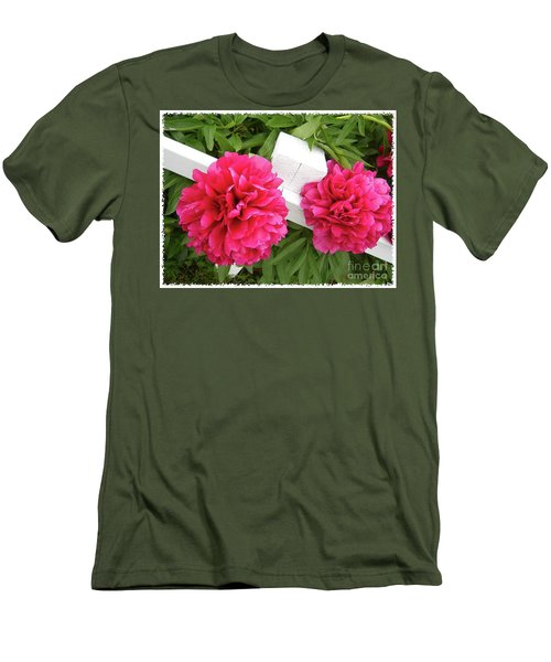 Peonies Resting On White Fence Men's T-Shirt (Slim Fit) by Barbara Griffin