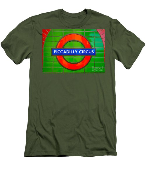 Men's T-Shirt (Slim Fit) featuring the photograph Piccadilly Circus Tube Station by Luciano Mortula
