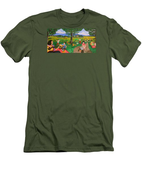 Men's T-Shirt (Slim Fit) featuring the painting Picnic With The Farmers And Playing Melodies Under The Shade Of Trees by Lorna Maza