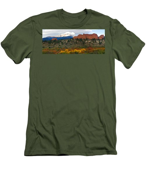 Men's T-Shirt (Slim Fit) featuring the photograph Pikes Peak Fall Pano by Ronda Kimbrow
